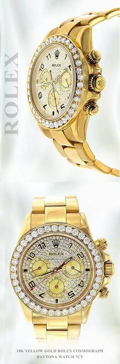 Love it? Want it? Get it, This Custom Rolex Cosmograph Daytona Watch is in excellent condition with custom set diamonds on dial and bezel and featuring 18K Yellow Gold Case and 18K Gold Oyster Bracelet.