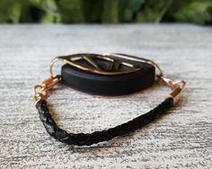 Black Leather Cord Bracelet for the Bellabeat LEAF