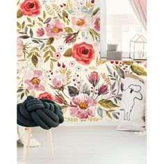 Bungalow Rose Mansfield Removable Vintage Berries Flowers L x W Peel and Stick Wallpaper Roll Said Wallpaper, Wallpaper Panels, Wallpaper Roll, Peel And Stick Wallpaper, Wallpaper Murals, Adhesive Wallpaper, Wallpaper Ideas, Best Removable Wallpaper, Rustic Wallpaper