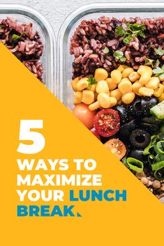 Are you a frequent lunch skipper, or an eat at your desk-er? Your lunch break can provide both a physical and mental boost to your day, if you give it the chance. What You Eat, Eat Healthy, 5 Ways, Productivity, Healthy Lifestyle, Beans, Lunch, Desk, Canning