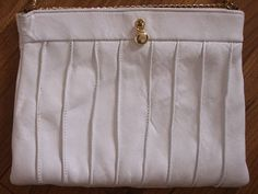 SOLD!  Ande' Label Pleated White Leather Handbag with by EcoBeachDesigns