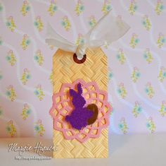 #Easter #Tag w @Scrapbook Adhesives by 3L using #3DFoamSquares Easter Shapes and #PigmentPowderBrown @spellbinders embossing folder & #DieDLite #WearAdhesivesOnTheOutside #Tutorial Step Out on Blog
