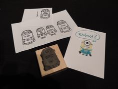 PART TWO SHOWING BOTTOM OF STAMP:   I Googled Minion Colouring Page.  Used My Digital Studio to add eyes#2 and mouth#3 onto body #4 to get the minion that I wanted as a template to carve this fun minion stamp with Stampin' Up!'s UNDEFINED Stamp Carving Kit!  This was only on my 2nd day of having the kit!  so not a huge learning curve!