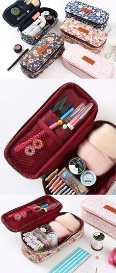 Ooh la la~ Grab this beautiful pouch to make the ultimate craft kit! It has a large main compartment to hold your sewing or craft supplies so all of your essentials will be in one place. There's also 1 open pocket & 1 mesh pocket to organize your pens, pencils, scissors, & more! It's great for sewing or knitting items like needles or thread too. It comes in 4 lovely floral patterns & is lined with quality fabric & padding for protection. Use this pretty pouch on the go or for daily…