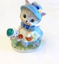 Vintage Ceramic Decor-Adorable Mama Cat and by mytimevintage