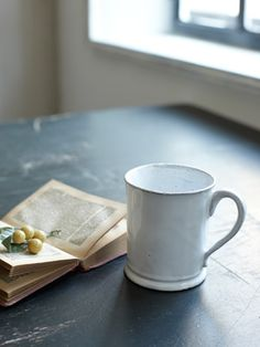 Astier de Villatte - ref : Mug Colbert - Dimensions (cm) 11 x 8 x Coffee Cups, Tea Cups, Nights In White Satin, Bright Rooms, I Love Coffee, Cafe Restaurant, Glass Table, Mug Cup, Earthenware