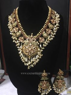 Latest Gold Guttapusalu Necklace Sets, 22K Gold Guttapusalu With Earrings.
