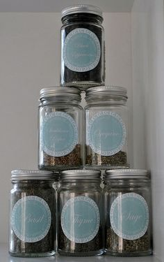 Free Printable Kitchen herb jar labels