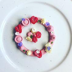 Raspberry Pannacotta, Raspberry Curd, Mascarpone Cremeux and Lemon Sponge