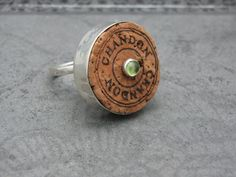 Items similar to Champagne Cork and Sterling Silver Ring Chandon with Peridot on Etsy Champagne Ring, Champagne Corks, Wine Craft, Find Objects, Peridot, Sterling Silver Rings, Upcycle, Cufflinks, Crafty