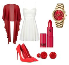 """Red Lipstick"" by sandra-boguslawska ❤ liked on Polyvore featuring beauty, Gina Bacconi, Miu Miu, Lipstick Queen and Cabochon"