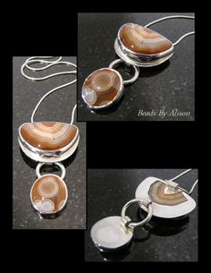 Lake Superior Agate sterling silver bezel set drop pendant. Cabochon by Bob Wright, Silver by Beads By Alison. Pendants - Beads By Alison