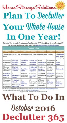Free printable October 2016 decluttering calendar with daily 15 minute missions. Follow the entire Declutter 365 plan provided by Home Storage Solutions 101 to declutter your whole house in a year.