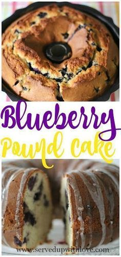 Blueberry Pound Cake recipe from Served Up With Love. Blueberries are studded throughout this cake with a touch of lemon flavor. Mini Cakes, Cupcake Cakes, Cupcakes, Just Desserts, Dessert Recipes, Breakfast Recipes, Breakfast Time, Recipes Dinner, Cupcake Recipes