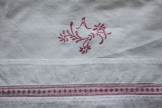 Cotton vintage sheet with hand embroidered by ReDesignandReCycled, kr175.00
