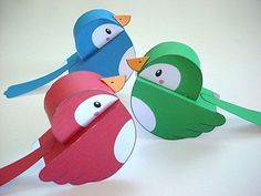 FREE printable paper birds These birds are definitely coming with me to Candyland! 3d Paper Crafts, Bird Crafts, Paper Toys, Diy Paper, Foam Crafts, Projects For Kids, Crafts For Kids, 3d Templates, Bird Template