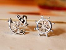 925 sterling silver anchor helm earring sailor
