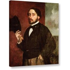Edgar Degas Self Portrait Gallery-wrapped Canvas Art, Size: 24 x 32, Red