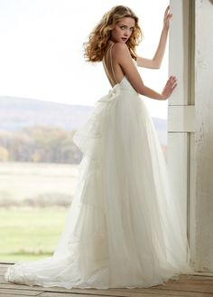 Dramatic Baby Doll Style Court Train Organza Tulle Wedding Dress with Lace Bodice