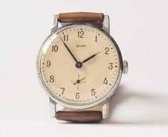 Soviet wristwatch ZIM vintage men's watch brown by SovietEra, $65.00