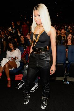 nicki minaj bet awards 2013 leather pants   Nicki Minaj wearing Giuseppe Zanotti High-Top Wedge Sneakers