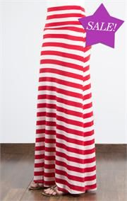 Striped maxi skirt red – Modern skirts blog for you