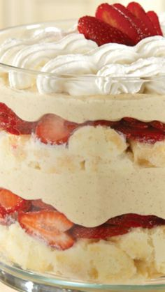 Strawberry-Coconut Tres Leches Trifle ~ The flavors in a popular Mexican cake are redesigned into a simple, pretty dessert.