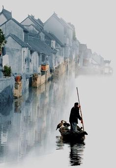 China Travel Inspiration - Chian Tsun Hsiung, China Loving this. Looks like a man is rowing into a painting. Places Around The World, Around The Worlds, Beautiful World, Beautiful Places, Peaceful Places, Beautiful Pictures, Foto Nature, Magic Places, Suzhou