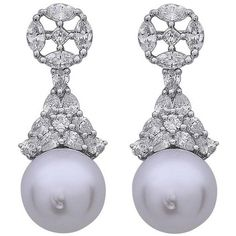 Alluring Diamond South Sea Pearl Earrings ($4,600) ❤ liked on Polyvore featuring jewelry, earrings, multiple, evening earrings, 18 karat gold earrings, diamond jewelry, holiday jewelry and diamond earring jewelry