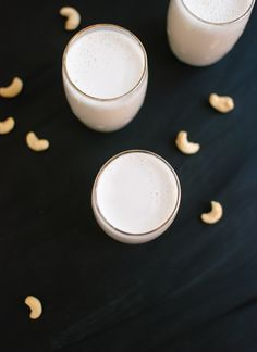 """creamy milk that didn't require straining, so don't worry if you don't have a fancy pants blender. Soaking the cashews first helps them break down in the blender, too. Generally, soaking nuts before consuming them helps release beneficial enzymes. I'm not sure that's true for cashew milk, though, because even """"raw"""""""