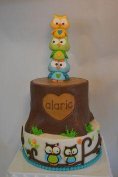 gumpaste owl cake topper - gumpaste owls on completed cake