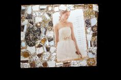 Shimmer... Pretty Little Things gold and white wedding mixed media theme frame