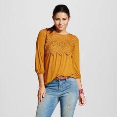 Women's Crochet Knit Top Gold XL - Xhilaration(Juniors')