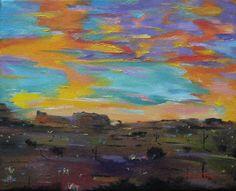 Oil painting southwestern desert landscape original art by jujuru, $120.00