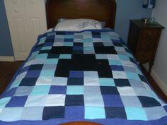 blue minecraft patchwork fleece blanket finished