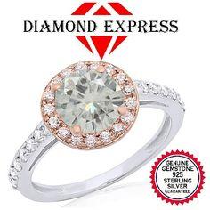 "1.00 Ct Genuine White Moissanite And Genuine Diamond 14K Gold Engagement Ring ""Mother\'s Day Gift"". Starting at $89"