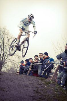 Cyclocross World ChampionZdenek Stybar catching truck loads of air in Loenhout