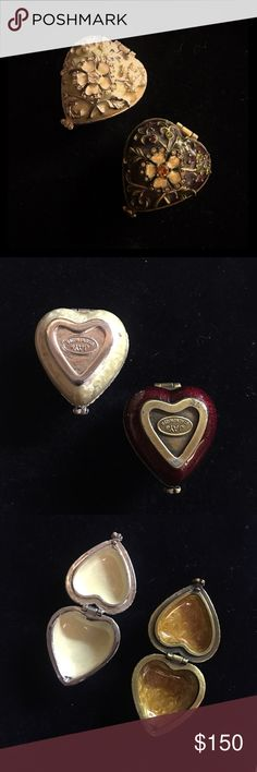 TINY Jay Strongwater miniature heart metal boxes 2 Jay Strongwater beautiful miniature heart keepsake boxes with floral theme...burgundy box with crystals and creme box with pearls..can be used for ring boxes for wedding Jay Strongwater Accessories