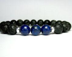 Lava Bracelet Blue Tiger Eye Bracelet Mens by LampJewellery