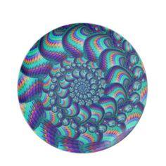 Turquoise Blue Balls Fractal Pattern Dinner Plates $28.10