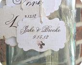 Personalized Name & Date Wedding Shower Favor Tags - Vintage - Cottage Chic - Fleur de Lis - Set of 10 -  Escort Cards Cupcake Toppers