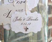 Personalized Name & Date Wedding Shower Favor Tags - Vintage - Cottage Chic - Fleur de Lis - Set of 10 -  Escort Cards Cupcake Toppers