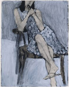 Richard Diebenkorn – Untitled (Seated Woman, Patterned Dress), 1966, Watercolor, charcoal, gouache and crayon | University Art Museum, University at Albany, State University of New York