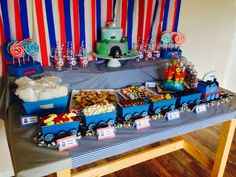Max's Thomas the Tank engine party table for his 3rd birthday