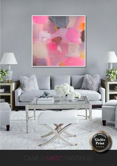 Original abstract giclée Print of painting with blue,pink . large abstract Pink White #abstractart