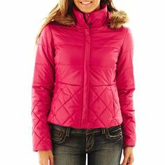 Faux Fur Trimmed Puffer Jacket Jcpenney