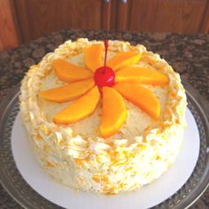 Mango cake... Real mango tidbits & slices