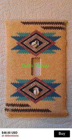 Santa Fe peyote stitched beaded Light switch plate