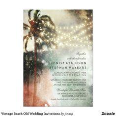 Vintage Beach Old Wedding Invitations