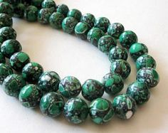 """Green Mosaic Round Beads - Smooth Natural Gemstone - Green Magnesite Turquoise - Jewelry Making - 10mm - 16"""" strand - DIY Necklace Beads"""